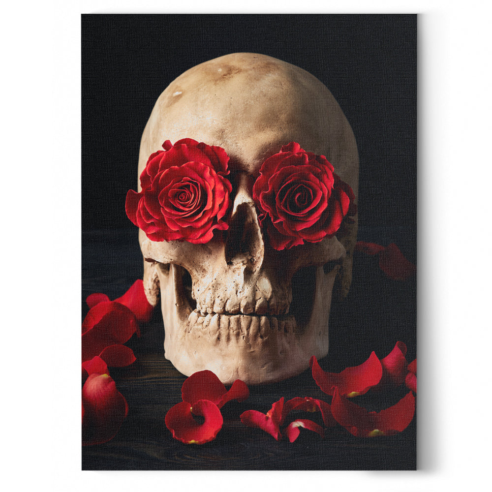 Skull and Roses Canvas Wall Art