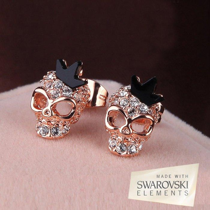 Swarovski Crystal Skull Crown Earrings