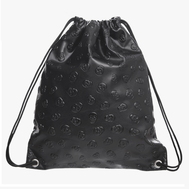 Black Skull Drawstring Bag
