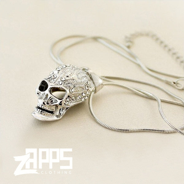 18K White Gold Plated Crystal Skull Necklace WW