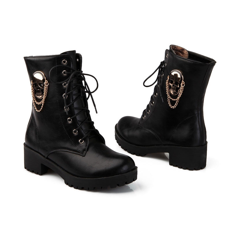 Black Whisper Skull Women's Boots
