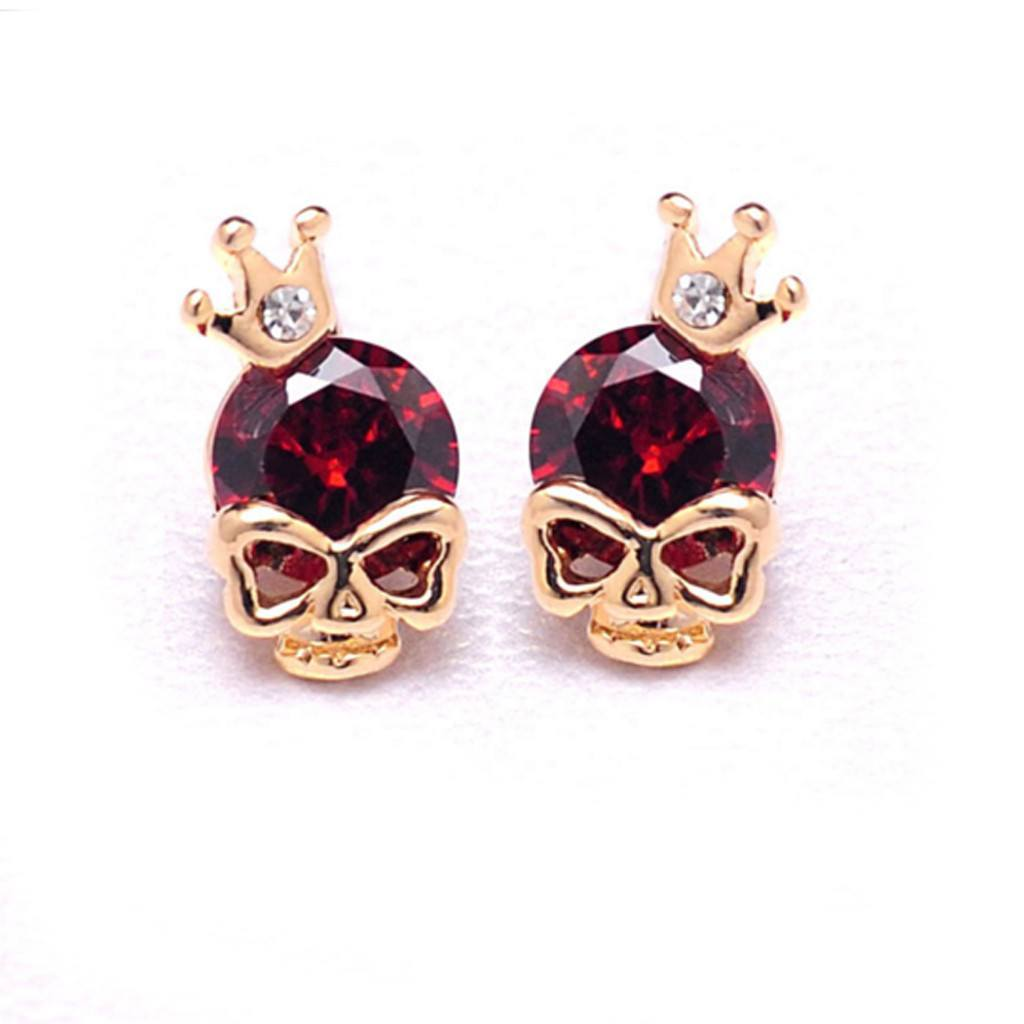 skull crown stud earrings red