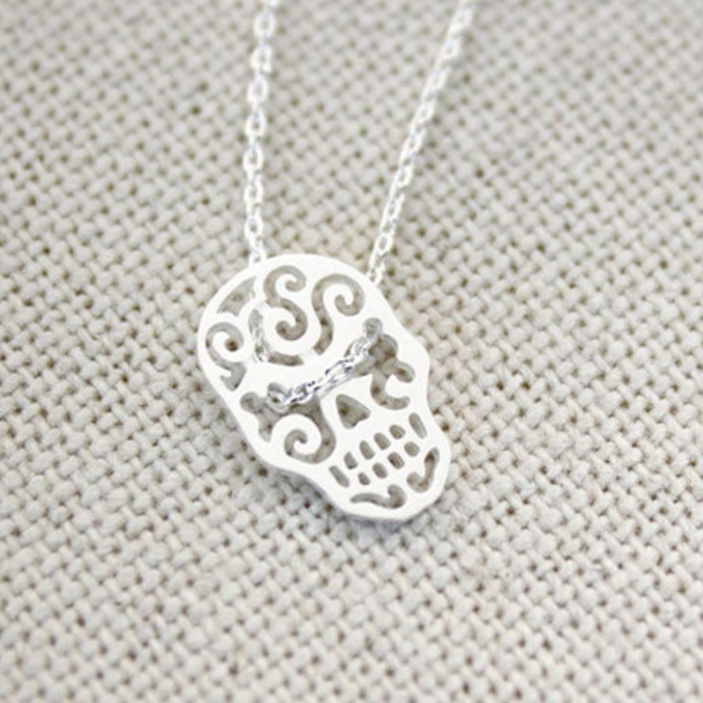 Mini Sugar Skull Charm Necklace