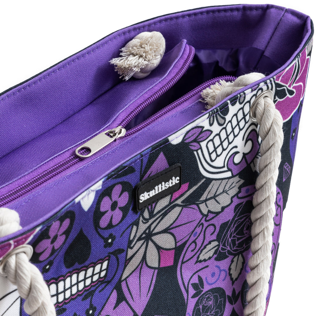 Sugar Skull Purple Shoulder Beach Bag