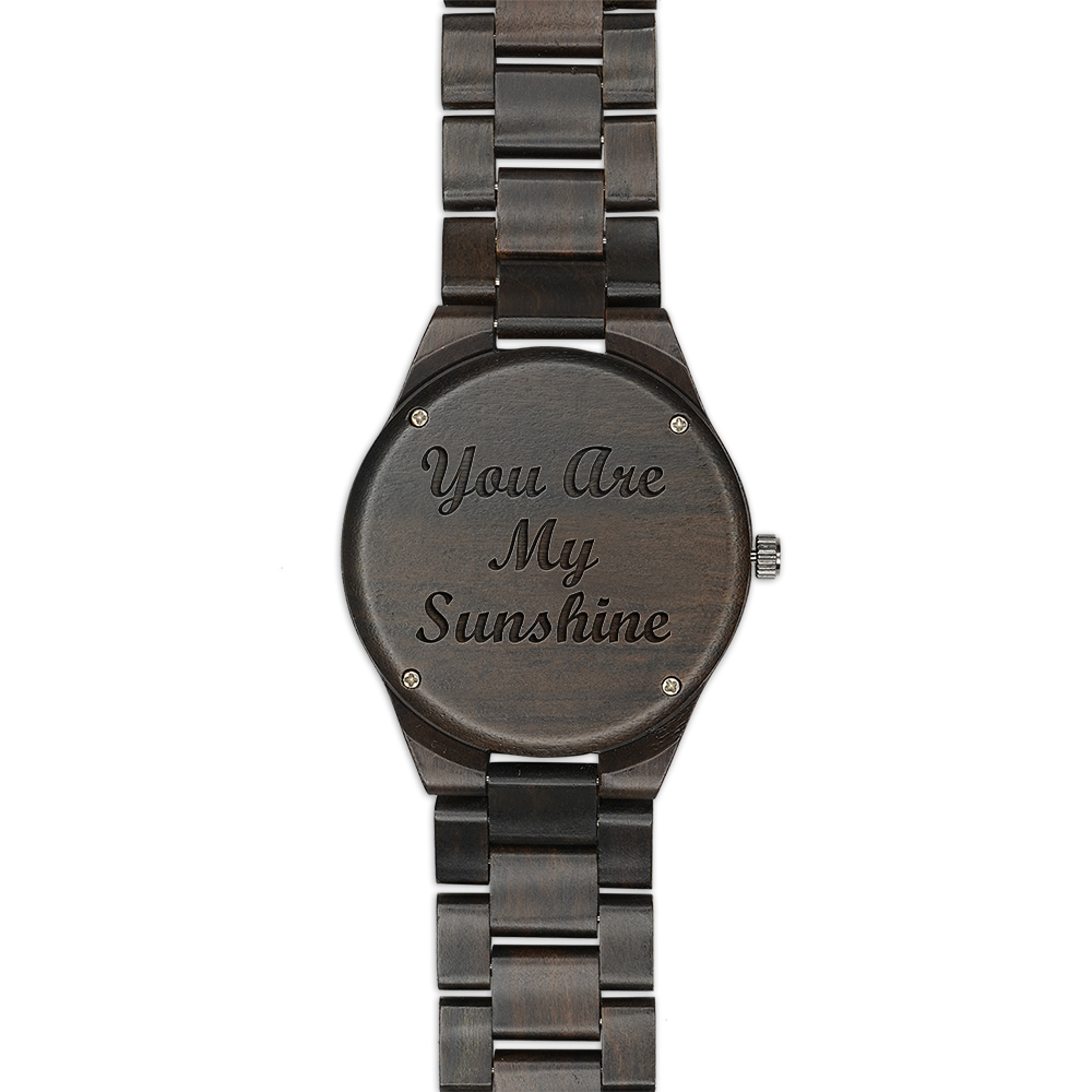 Sunflower You Are My Sunshine Engraved Wood Watch
