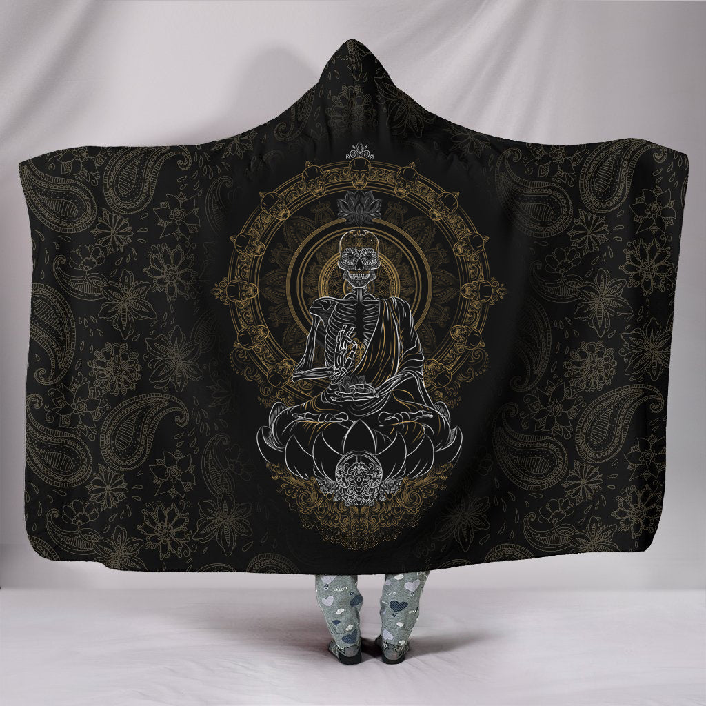 Skullistic Zen Meditating Skeleton Hooded Blanket TF