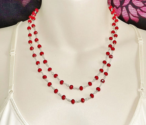 Red crystal glass bead 2 row necklace .. handmade strand jewellery silver tone