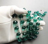 Chunky big green glass crystal bead long necklace statement handmade  jewellery