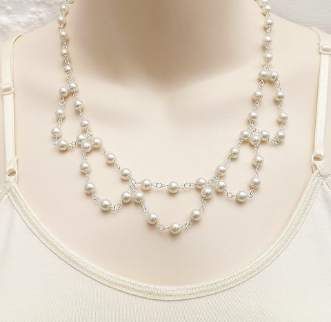 White glass pearl drape collar necklace .. bridal wedding elegant glam jewellery