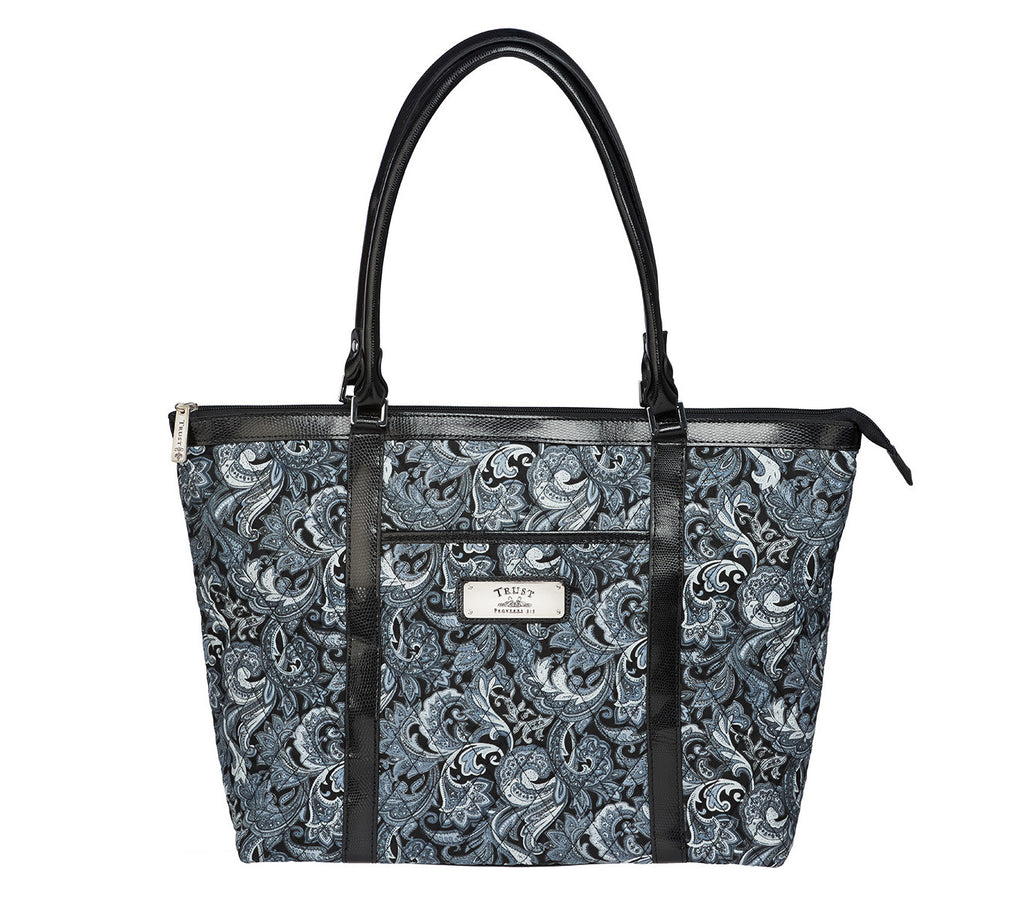 Gray Quilted Paisley Tote Bag