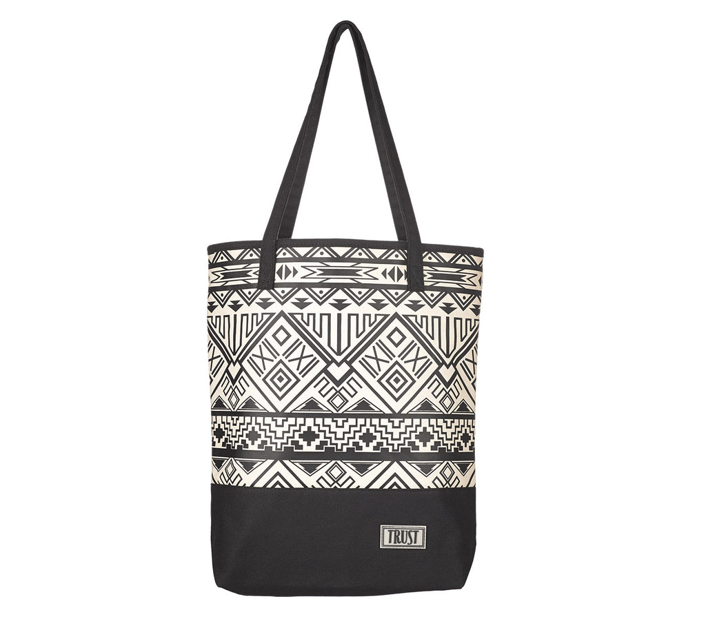 Black/White Geometric Canvas Tote Bag
