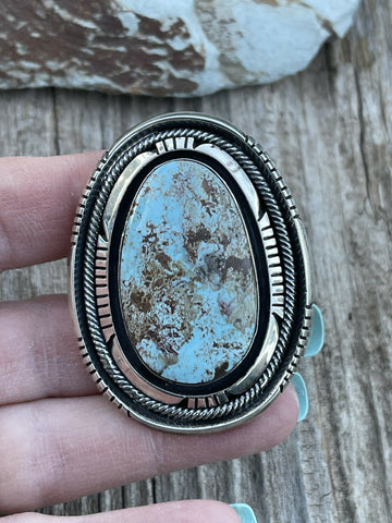 Navajo Shadow Dry Creek Turquoise & Sterling Silver Ring Size 7