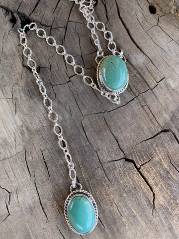 Navajo Royston Turquoise & Sterling Silver Lariat Necklace