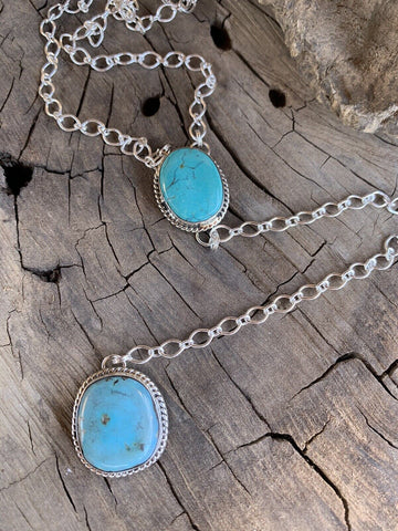 Navajo Kingman Turquoise & Sterling Silver Lariat Necklace