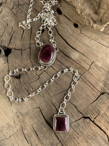 Navajo Purple Spiny & Sterling Silver Lariat Necklace