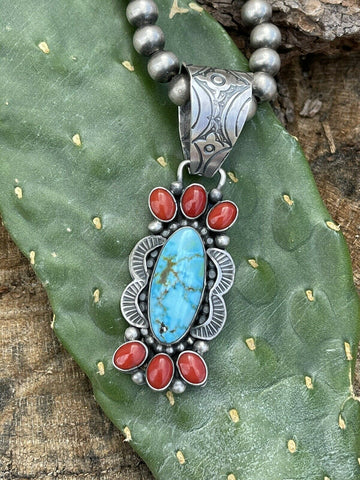 Navajo Sterling Kingman Web Turquoise & Red Coral Pendant Taos Collection