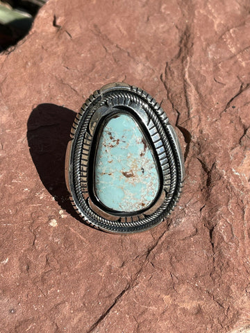 Navajo Shadow Dry Creek Turquoise & Sterling Silver Ring Size 6