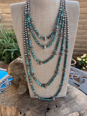 Navajo Royston Turquoise Sterling Silver Pearl Beaded Necklace