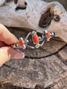 Navajo Natural Red Coral Sterling Silver Bow Tie Cuff By Artist Chimney Butte