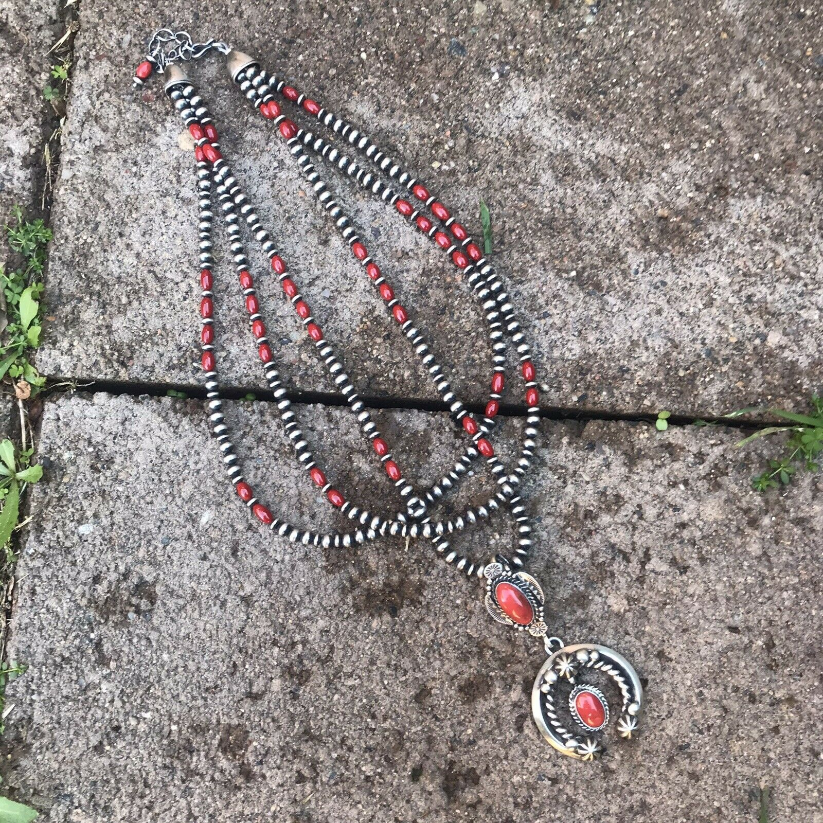 Navajo Natural Red Coral & Sterling Silver Naja Necklace