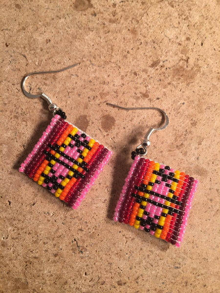 Navajo Beaded Multi Stone Dangle Earrings