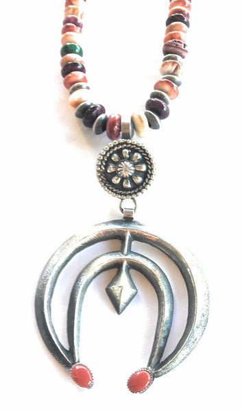 Navajo Sterling Silver & Spiny Oyster Naja Necklace Signed