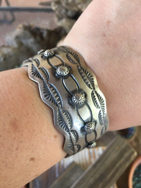 Navajo Sterling Silver Cuff Stamped And Signed By Chimney Butte
