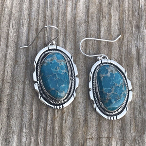 Navajo Sterling Silver & Kingman Turquoise Dangle Earrings
