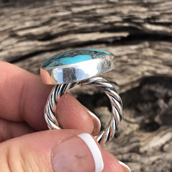 Stunning Rope Style Turquoise & Sterling Silver Navajo Ring Size 6