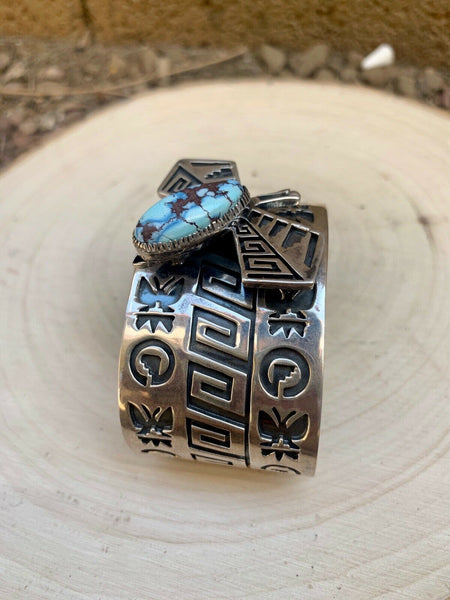 Navajo Sterling Silver & Golden Hills Turquoise Butterfly Cuff  Bracelet