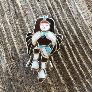 Vintage Sterling Silver & Multi Stone Kachina Dancer Pendant/ Pin