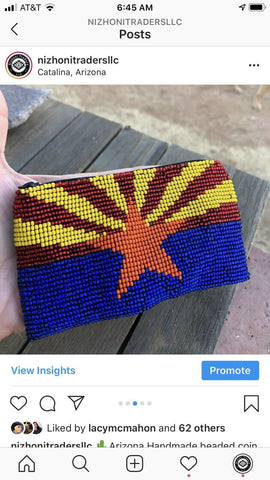 Handmade beaded southwestern Arizona Star Coin Purse