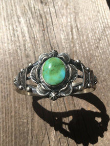 Navajo Sterling Silver & Sonoran Gold Turquoise Cuff Bracelet Signed & Stamped