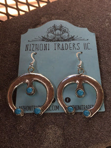 Navajo Sterling Silver & Turquoise Naja Dangle Earrings Signed