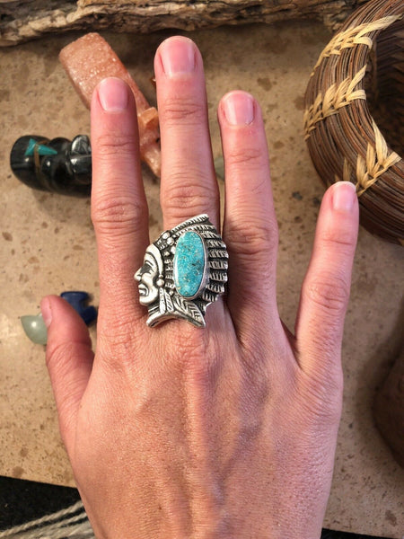 Kingman Turquoise & Sterling Silver Navajo Ring By Emerson Thompson Size 8.5