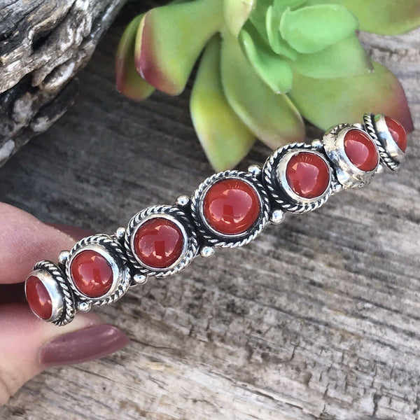 Navajo Natural Coral And Sterling Silver Cuff Bracelet