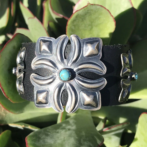 Native Bohemian Black Leather Bracelet w/ Sterling Turquoise Stud