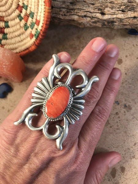 Russell Sam Navajo Spiny Oyster & Sterling Hand Stamped Ring Sz 8
