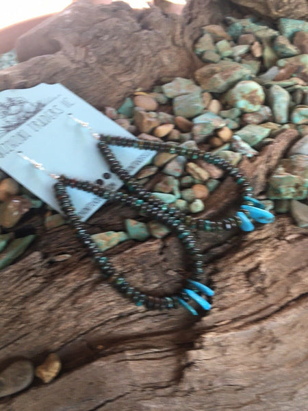 Navajo Turquoise & Sterling Silver Beaded Dangle Hoop Earrings