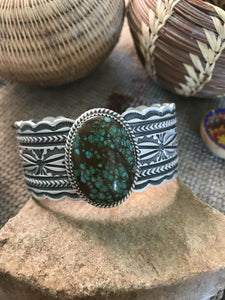 Harold James Sterling And Royston Turquoise Cuff Bracelet, Signed