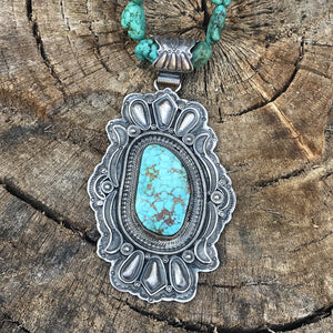 Vintage Sterling Navajo Kingman Web Turquoise Pendant Signed Wallace JR.