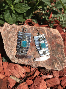 Navajo Turquoise And Sterling Silver Boot Dangle Earrings