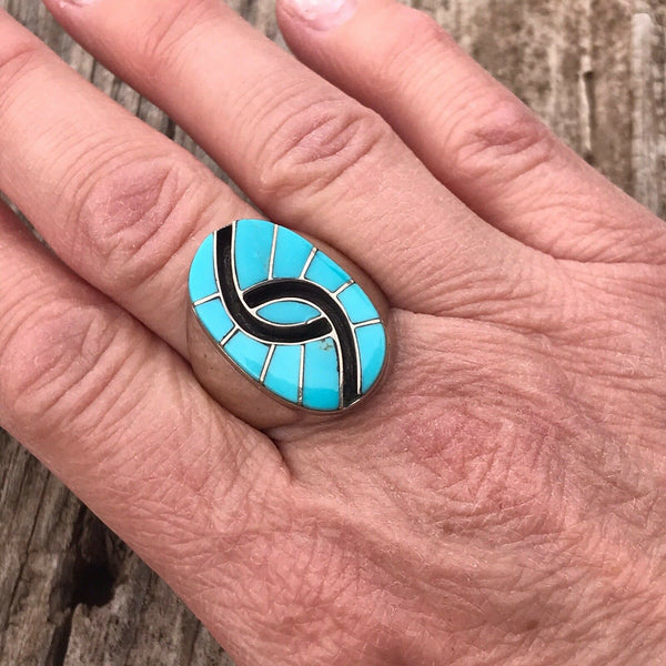 Zuni Sterling Silver Turquoise Black Onyx Inlay Stone Ring Size 10