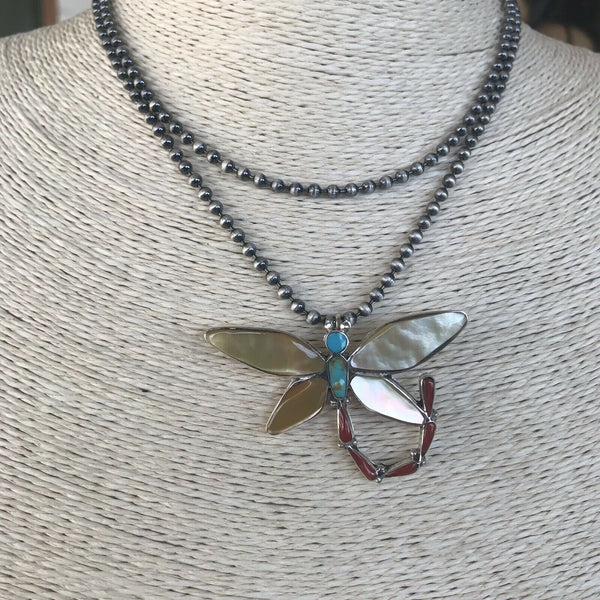 Zuni Sterling Silver & Multi Stone Dragonfly Pendant Pin