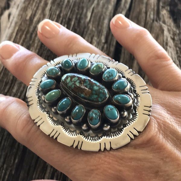 Navajo Cluster Multi Turquoise &  Sterling Silver Ring Size 6