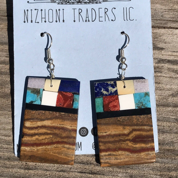 Navajo Sterling Silver Multi Stone Handmade Dangle Earrings