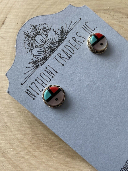 Zuni Inlay Multi Stone And Sterling Silver Studs