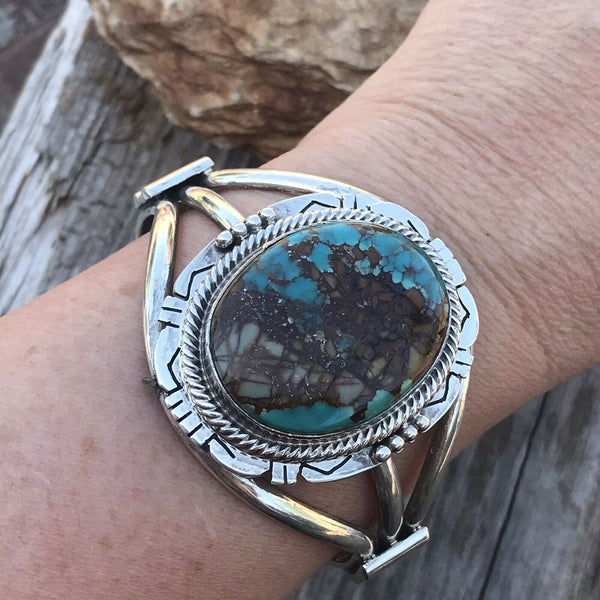 Navajo Royston Turquoise & Sterling Silver Cuff Bracelet Signed
