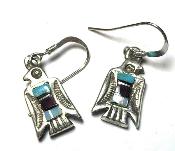 Navajo Hand Crafted Sterling Silver & Multi Stone Thunderbird Dangle Earrings