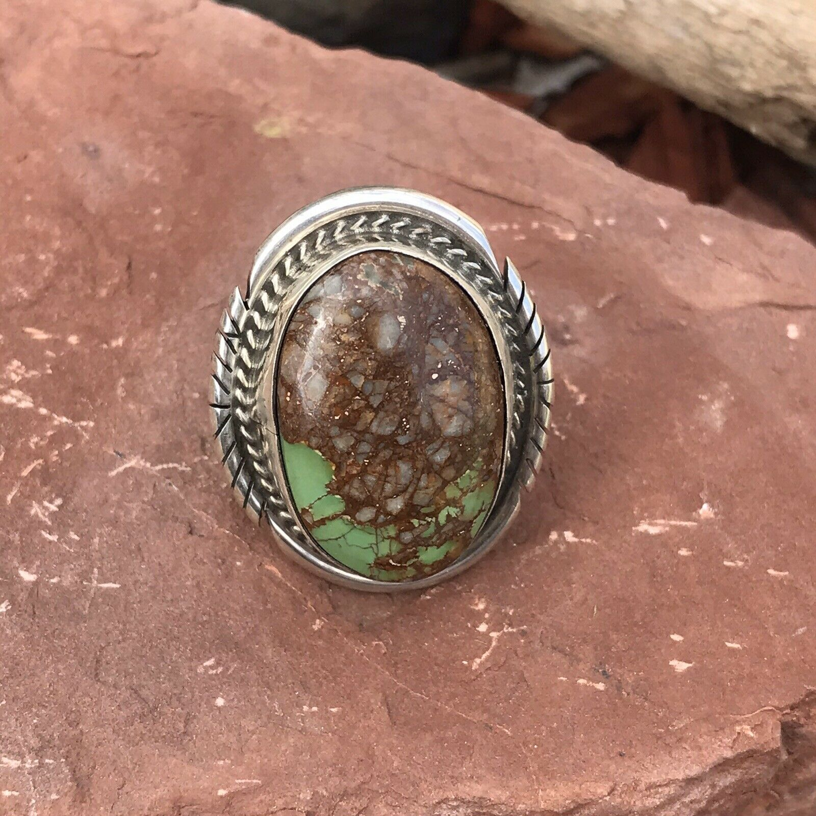 Navajo Royston Turquoise & Sterling Silver Spider Ring Size 6 Signed